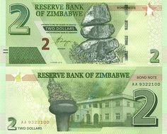 Two Dollars, Zimbabwe, 2 In, Bond, Banknote, Country, Money, Report Cards, Coining
