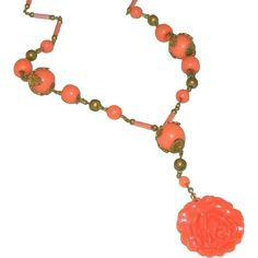 "Caved Coral Glass & Brass Czech Vintage Art Deco Rose Drop, or Lavaliere Necklace c.1920.  ON SALE NOW at ""Vintage Jewelry Stars"" shop at http://www.rubylane.com/shop/vintagejewelrystars !!"
