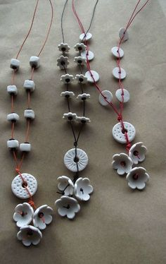 Clay jewelry pieces.