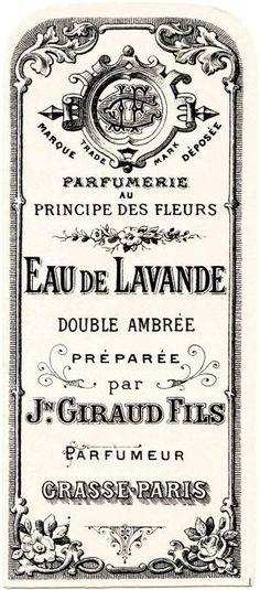 French perfume label, Jn Giraud Fils, vintage French ephemera, eau de lavande, lavender water perfume label, free vintage label graphic by jolene