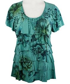 Pretty Woman - Double Ruffle, Scoop Neck, Cap Sleeve, Sublimation Print Jade Top