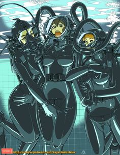 """""""Colors for some of the rubber dive stuff from the other day. Tight Suit, Skin Tight, Diving, Latex, Anime, Fantasy, Comics, Cartoons, Illustration"""