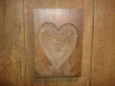 19th C Early Folk Art Heart w Flowers Print Wood Mold Candy Butter SPRINGERLE | eBay