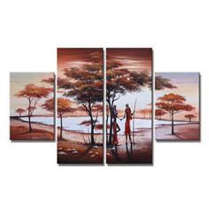 'Love Story' Hand-painted 4-piece Canvas Art Set