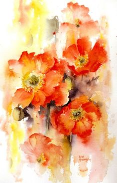 One of the most appealing things in a watercolor painting is the use of lost and found edges as Rachel Mcnaughton has demonstrated here in Lost and Found poppies. So loose and free. Love the vibrant colors in the poppies. Abstract Watercolor, Watercolour Painting, Watercolor Flowers, Painting & Drawing, Watercolors, Painting Flowers, Watercolor Pictures, Arte Floral, Flower Art