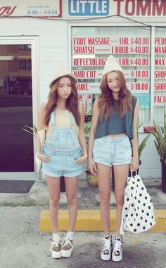 Love the denim shorts and overall# Asian girls# k fashion # Japanese fashion style GG's tiny times Korean style outfit