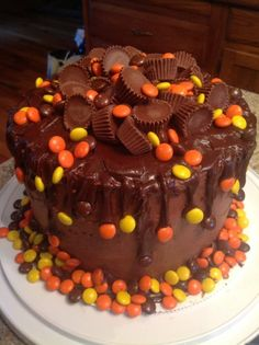 Pre-teen boy's birthday cake-PEANUT BUTTER and Reece's!!!