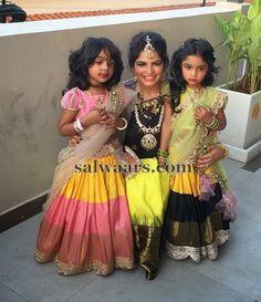 ariana and viviana in half sarees - Telugu wedding kids fashion Kids Dress Wear, Kids Gown, Dresses Kids Girl, Kids Outfits, Baby Dresses, Kids Wear, Kids Indian Wear, Kids Ethnic Wear, Lehanga For Kids