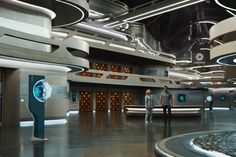 <em>Passengers'</em> Elegant Starship Is Almost as Pretty as Its Stars | The swooping architecture of the ship's mall. Dyas designed the spacecraft to resemble a cruise liner. | Credit: GUY HENDRIX DYAS | From Wired.com