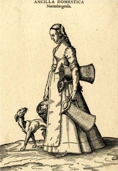 Plate 24: A Nuremberg domestic servant ; female figure walking to left, accompanied by a dog; the maid carrying two large pitchers and a bucket; illustration to Hans Weigel's 'Habitus Praecipuorum Populorum ... das ist Trachtenbuch', 2nd ed., Ulm: Kühn for Görlin, 1639.  1577 Woodcut and letterpress