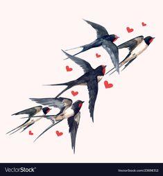 Watercolor swallow bird composition vector image on VectorStock Watercolor Bird, Watercolor Illustration, Watercolor Paintings, Swallow Tattoo, Swallow Bird, Atrapasueños Tattoo, Bird Tattoos For Women, Bird Drawings, Bird Prints