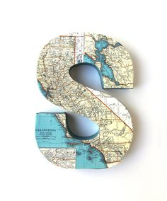 Vintage California Map Letter S - 8 inches Tall, Home Decor. $20.00, via Etsy.