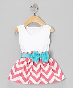 Take a look at this Pink Zigzag Bow Dress - Infant by Caught Ya Lookin' on #zulily today!