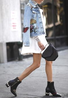 Style your white dress with a denim jacket and booties. Get this look and 6 more ways to wear a white dress through the end of summer (and beyond).