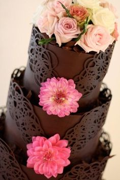 5 Stunning Chocolate Wedding Cakes minus the flowers