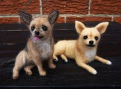 Needle felted Chihuahuas