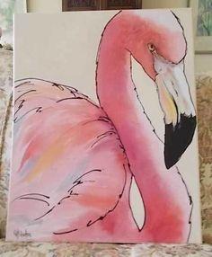 Original Acrylic Painting Flamingo Florida Pink Tropical by G H Shelton | eBay