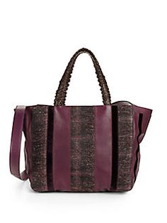 nada sawaya - Retto Stripe Leather & Tweed Tote/Bordeaux