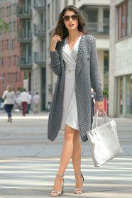 dámský ručně pletený kabát z příze Sandrin