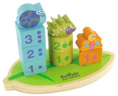 """Boikido Eco-Friendly Wooden Stack And Count Shapes. The Boikido Eco-Friendly Stack and Count Shapes are quirky, fun and help your child learn their early numbers!. Helps develop motor skills, shape sorting, counting and hand-eye coordination. Made from wood sourced from an FSC-monitored forest, printed with water-based paints and packaged eco-responsibly. All Boikido toys meet European and U.S. safety standards. Dimensions: 8.5"""" x 4.5"""" x 5.5"""" 