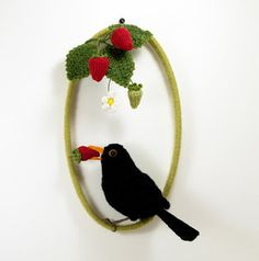 Life-like birds and fibre art from Jose Heroys, fibre artist. Crochet Birds, Crochet Animals, Crochet Toys, Baby Sparrow, The Strawberry Thief, Long Eared Owl, Great Horned Owl, Knitted Flowers, White Gift Boxes