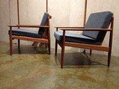 Outstanding Pair completely restored 1960's Teak Easy chairs - Designed by Arne Vodder, Denmark reupholstered in gorgeous medium grey 100% felted wool by Kvadrat - $3000/pair
