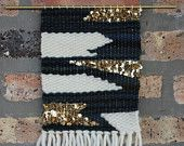 Geometric Gold Sparkle Hand Woven Wall Hanging Weaving