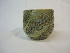 Leaves bowl - thrown and carved - autumn green and Frog Pond - Michael MacDonald 2013