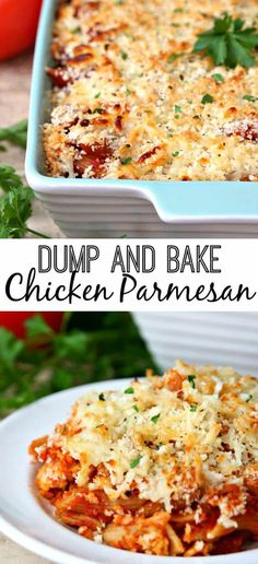 Dump and Bake Chicken Parmesan Dinner Recipe - An easy, cheesy dinner where everything bakes together in one dish. Just dump and bake and your dinner is ready! #dinner #dinnerrecipe #easydinnerrecipe