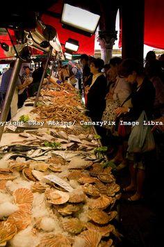 fish stall, market in Venice, Italy
