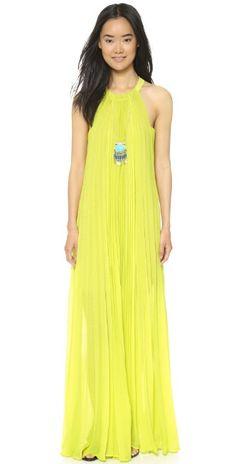 BCBGMAXAZRIA Meghen Pleated Halter Gown   SHOPBOP