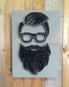 Father's Day Gift Bearded Hipster String Art Beard by UrbanHoot