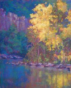 Morning on the Buffalo - Charles Peer - Pastel Pastel Landscape, Abstract Landscape, Landscape Paintings, Pastel Drawing, Pastel Art, Pastel Paintings, Horse Paintings, Watercolor Trees, Watercolor Landscape