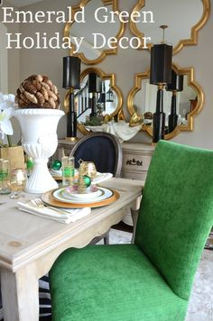 This is what i would like to do in my dining area too. 4 mirrors, but if i already have a mirror at the end of the hall, one in the livingroom and one in the entryway. is that too many mirrors in one house?3000square foot home. Amanda Carol at Home: Emerald Green in the Dining Room
