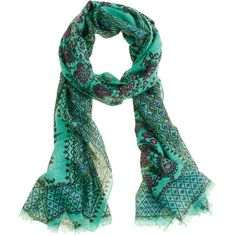 Vibrant paisley scarf ($60) ❤ liked on Polyvore featuring accessories, scarves, green, women, wrap shawl, j crew scarves, fringed shawls, paisley shawl and green scarves