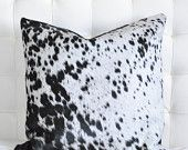 Black and White Nguni Cowhide Pillow Cover and Down/Feather Insert by Herdboi