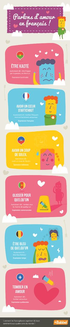 Dossier Saint-Valentin: expressions related to falling in love in French French Expressions, Love In French, How To Speak French, Learn French, Haiti, Expression Imagée, French Conversation, Vocabulary Instruction, French Classroom
