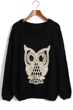 Sequined Owl Graphic Sweater OASAP.com