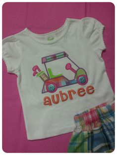 Girls GOLF Cart Tee Shirt with Pastel Madras by CreateSewEmbellish, $20.00