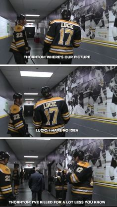 Milan Lucic, Shawn Thornton, and Brad Marchand pregame