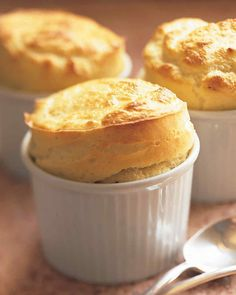 Goat Cheese Souffles Holiday Vegetarian Main Dish Recipes | Martha Stewart Living — A creamy, flavorful aged goat cheese sauce enriched with egg yolks forms the base of this vegetarian souffle.