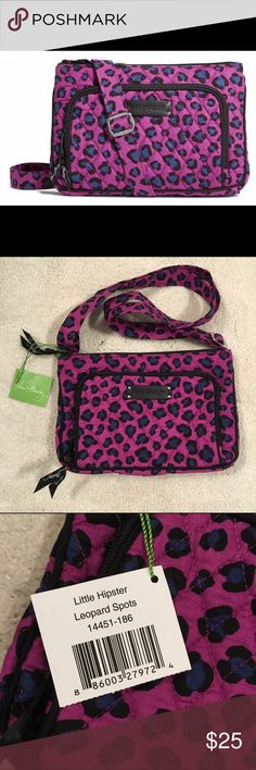 "Vera Bradley NWT Little Hipster Crossbody Purse Received this as a gift, never used though. Features a front compartment with all the benefits of a wallet built right into the bag. Very roomy inside for a stylish small crossbody purse! Has an adjustable shoulder strap, front zip-around compartment has three card slips and ID window, one zip pocket inside, zip-top closure, and slip pocket on back with hidden magnetic closure. Dimensions: 9 3/4 W x 6 1/2 H x 1 1/2 D with 55"" adjustable strap…"