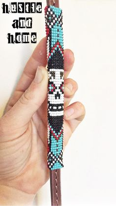 Sugar Skull Beaded Under Over Leather Whip
