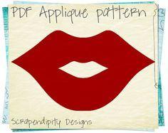 Lips Applique Template  Girls Applique by ScrapendipityDesigns, $2.50