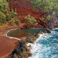 Kaihalulu Bay (Red Sand Beach), Maui, Hawaii - The World's Most Colorful Beaches - Coastal Living
