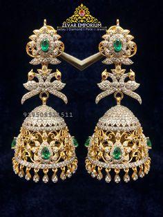 Diamond Jhumkas, Diamond Jewelry, Diamond Earrings, Drop Earrings, Gold Earrings Designs, Gold Designs, Jewelry Boards, Girls Jewelry, Designer Earrings