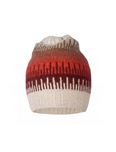 """This hat is knit using one skein each of colors A, B, C, D, and E in Shibui Knits Pebble held double on a US size 1 (2.5 mm) circular needle, 16"""" long; size 2 (2.75 mm) circular needle, 16"""" long; and size 2 (2.75 mm) dpns. Shown in Ivory, Sidewalk, Trail, Chestnut, and Poppy."""