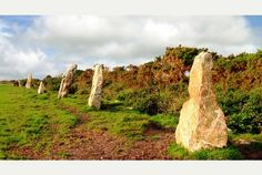 THE NINE MAIDENS STONES: the Nine Maidens standing stones at Scotland Corner close to Winnard's Perch between Wadebridge and St Columb in Cornwall are thought to have once been part of a larger collection.