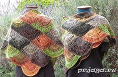 Вязание шали чешуйками