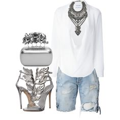 Silver & denim by minkstyles on Polyvore featuring Anthony Vaccarello, Faith…